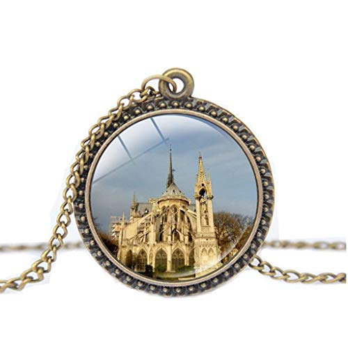 (WUAI Paris Cathedral Pendant Necklace Stained Glass Rose Window Pendant Rose Gold Window Necklace )