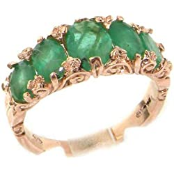 14k Rose Gold Natural Emerald Womens Band Ring - Sizes 4 to 12 Available