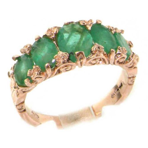 Amazon 14k Rose Gold Natural Emerald Womens Band Ring Sizes