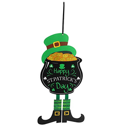 (St. Patrick's Day Decorations Door Hanger with Shamrock, Happy St. Patrick's Day Themed Hanging Welcome Sign for Wall Windows)