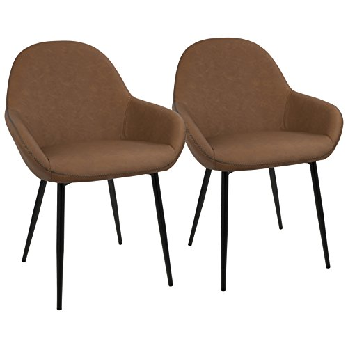 LumiSource Clubhouse Contemporary Dining Chair with Black Frame and Vintage PU Leather (Set of 2) Brown