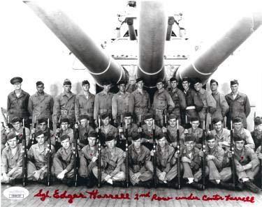 Sgt. Edgar Harrell signed WWII USS Indianapolis CA-35 Survivor Vintage B&W 8x10 Photo- Holo #DD64530 - JSA Certified ()