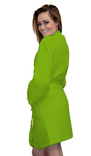 Lime Spa - Women's Thigh Length Waffle Kimono Robe Waffle Robe Waffle Weave Robe Kimono Spa Bathrobe Lime One Size