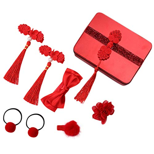 Orcbee  Kid Infant Traditional Headwear Hairclip Hairpin Box Set Barrettes Gift for Baby Girl (C)