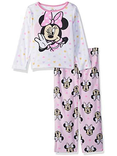 Minnie Mouse Toddler Girls Fleece Pajamas Set (3T, White/Pink)