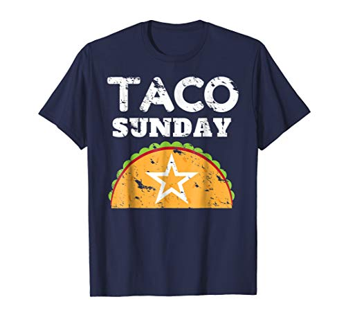 Mens Taco Sunday Shirt Vintage Distressed Large Navy