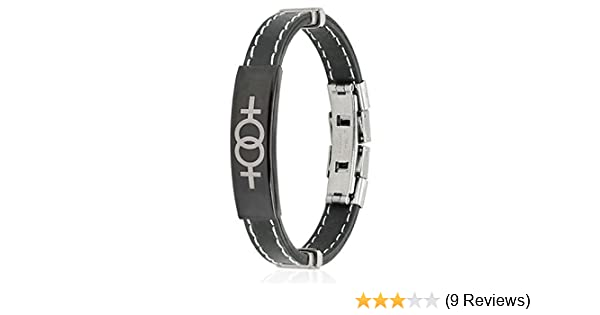 Double Female Symbol ID Plate Stitched Accent Rubber /& Stainless Steel Bracelet
