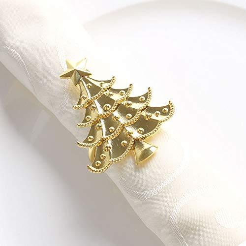Fennco Styles Decorative Reindeer Snowflake Christmas Tree Holiday Rhinestone Metal Napkin Rings - Set of 4 (Gold-Plated Christmas - Gold Reindeer Plated