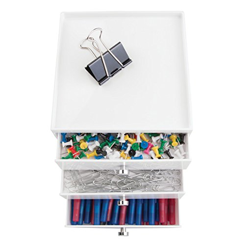 mDesign Office Supplies Organizer for Office to Hold Pens, pencils, Markers, Staplers - 3 Drawer, White