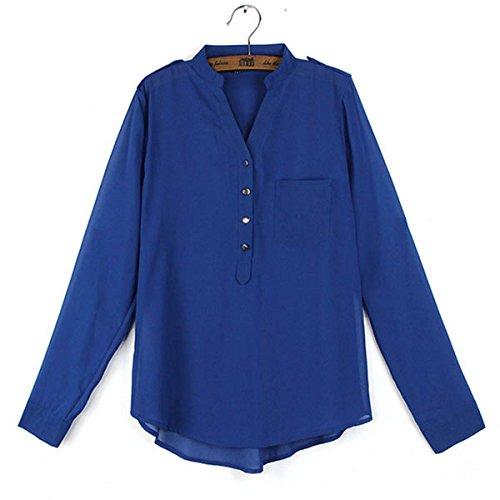 ZANZEA Mujeres V Cuello Chiffon Manga Larga Camisa Blusa Camiseta Top Blouse Shirt OL 36-50 Azul