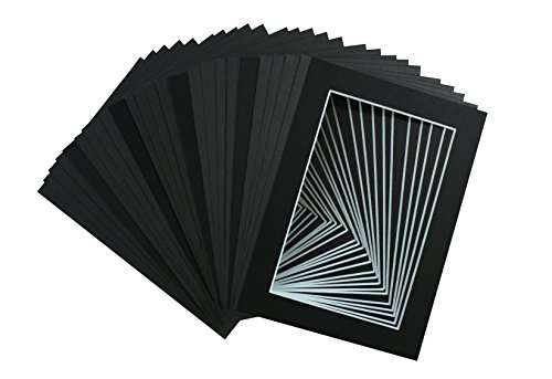 golden-state-art-acid-free-pack-of-25-5x7-black-picture-mats-mattes-with-white-core-bevel-cut-for-4x