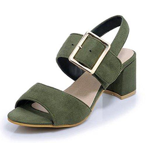 Easemax Kvinna Mode Faux Mocka Slingback Sandaler Grönt