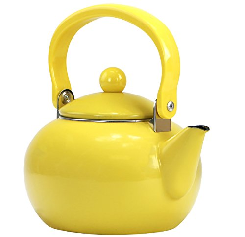 Calypso Basics by Reston Lloyd 2-Quart Enamel-on-Steel Tea Kettle, Lemon Yellow