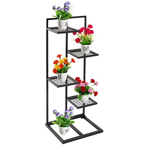 DOEWORKS 4 Tier Metal Plant Stand Flower Pots Stander Display Pots Holder for Indoor Outdoor Use, Black ()