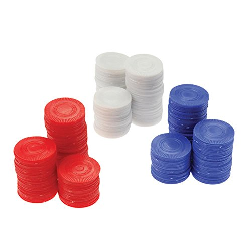 PAVILIA Plastic White Poker Chips Card Game (Bag of 100) -