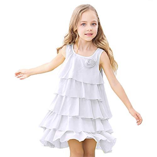 HOLIBEE Girls Sleeveless Party Beach Dresses Summer Tank Sleeve Tiered Sundress Princess Ruffle Hem Swing Dress 6Years White