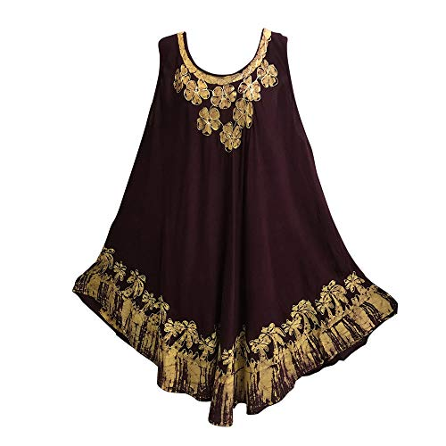 Yoga Trendz Bohemian Embroidered Ethnic Print Sleeveless Long Caftan Summer Casual Dress Meena (No7 Plum)