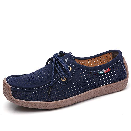 ZHZNVX Zapatos de Mujer Suede Spring & Summer Comfort/Moccasin Sneakers Flat Heel Coffee/Red / Blue Blue