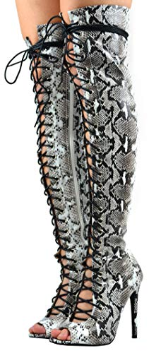 Cambridge Select Women's Thigh-High Peep Toe Corset Lace-Up Stiletto High Heel Over The Knee Boot,7 B(M) US,Black/White Snake