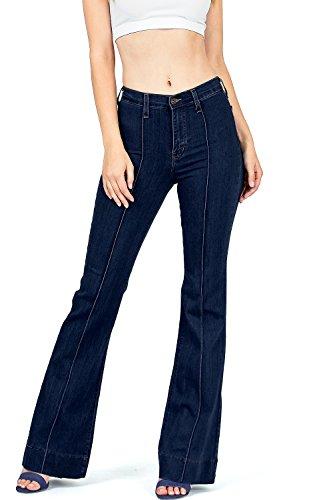Premium Denim Flare Jeans - Angry Rabbit by Pink Ice Juniors High Waist Stretchy Premium Flare Jeans (25, Super Dark Denim)