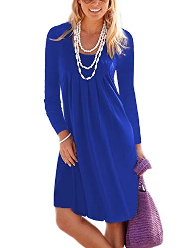 Women's Pleated Blue Length Sleeveless Long Sun Dresses royal Casual Summer Sleeve Knee Tank Traleubie Long BcqTRndBy