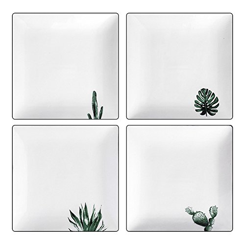 Dinner Plates Set of 4 Ceramic Square 8 Inch White for Parties Cupcake Stand Carriers