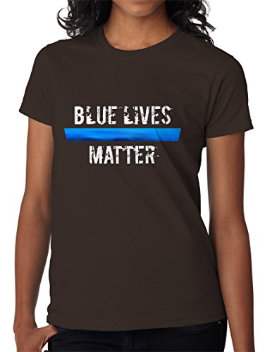- BBT Womens Blue Lives Matter Metallic Foil T-shirt Tee 3XL Dark Chocolate