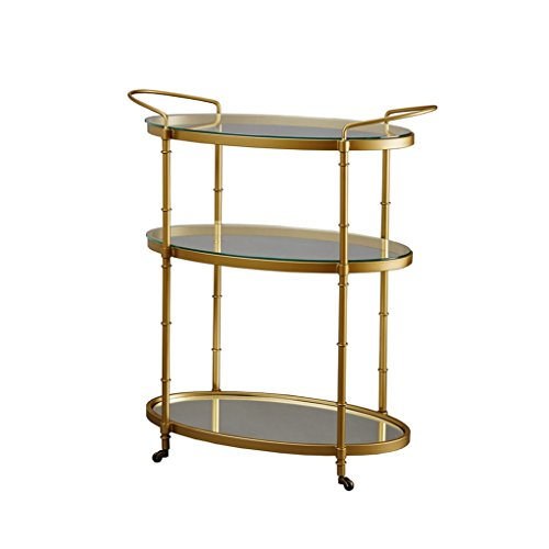 Glamour Oval Gold 3 Tier Bar Cart with Glass and Mirror Bottom - Low Profile Wheels - Includes Modhaus Living (TM) Pen by ModHaus Living