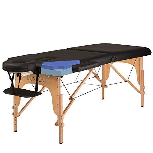 Luxton Home Premium Memory Foam Massage Table – Easy Set Up – Foldable & Portable
