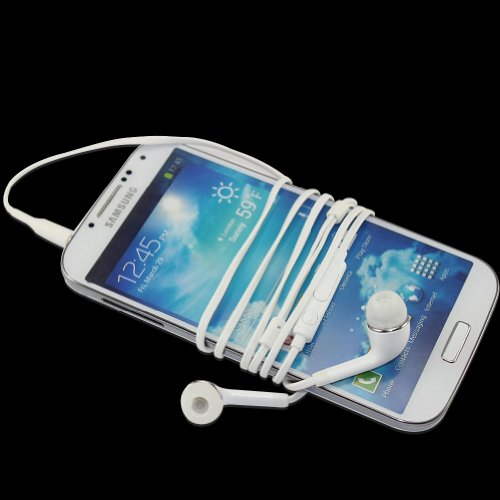 pay4save Stereo Headset / headphones OEM 3.5mm Tangle Free Stereo Headset with Microphone for Samsung Galaxy S4 - EO-HS3303WE/Non PVC - Non-Retail Packaging - White