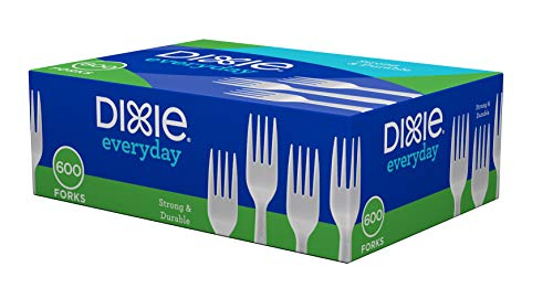 An item of Dixie Plastic Medium-Weight Forks, 600 per Carton - White- Bulk ()