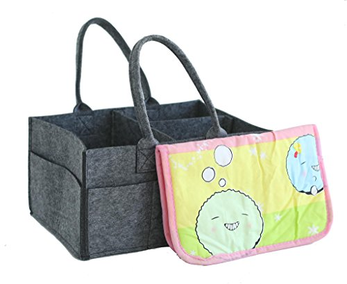 Diaper Caddy Organizer - w/ Free Baby Changing Pad Included, Premium Storage Caddy for Nursery, Perfect for On-The-Go Carrying, for the Car, or at Home Organizing, Ultimate Baby Shower Gift