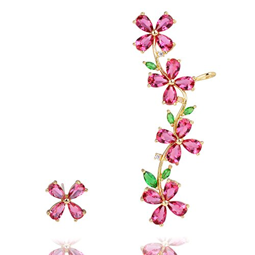 Clover Ear Cuff - OBONNIE Women's 925 Sterling Silver CZ Crystal Four Leaf Clover Right Ear Cuffs Clip Earrings Stud Set