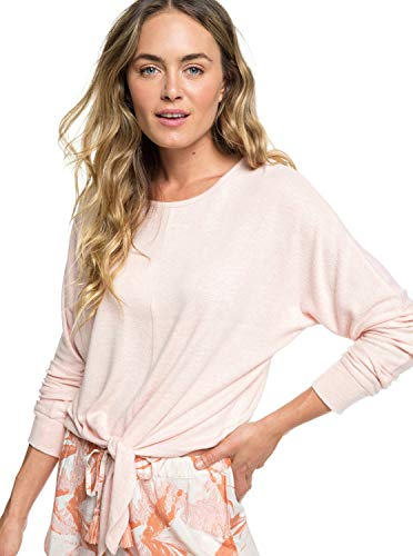 (Roxy Women's After Sunrise Cozy Knot Front Top, Peach Bud Heather X-Small)