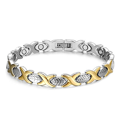 (Titanium Stainless Steel Magnetic Therapy Bracelet Health Care Gift for Womens Golden&Silver )