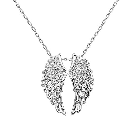 Beaux Bijoux Sterling Silver CZ Double Angel Wings Pendant with 18 Chain