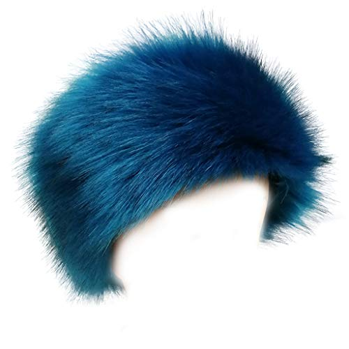 FAITH YN Faux Fur Headband with Elastic Stretch Plush Fur Hat Winter Ear Warmer Earmuff Ski Cold Weather Caps [Pearlecent -