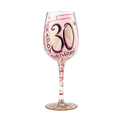 Enesco Designs by Lolita 6000736 Wine Glass 30th Birthday, 15 oz -
