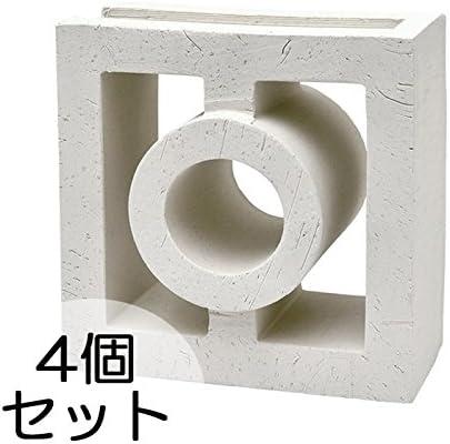 ブロック せっき質無釉ブロック ポーラスブロック200コーナー 190Gタイプ 白土(配筋溝あり・1面フラット) 4個セット単位 屋外壁