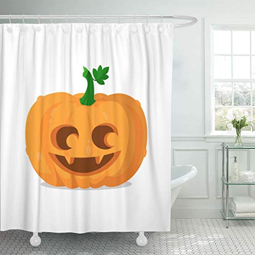 Emvency Fabric Shower Curtain Curtains with Hooks Orange Eyes Halloween Pumpkin Happy Autumn Carving Celebration Cute Emotion Evil Face 72