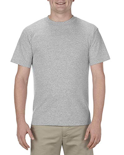 Alstyle Apparel AAA Men's Classic Cotton Short Sleeve T-shirt, Athletic Heather Gray, - Athletic Heather Apparel