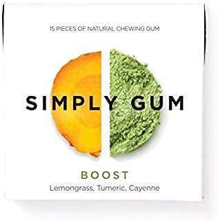 product image for Simply Gum | Natural Chewing Gum | Boost with Lemongrass and Turmeric | Pack of Six (90 Pieces Total)| Plastic Free + Aspartame Free + non GMO
