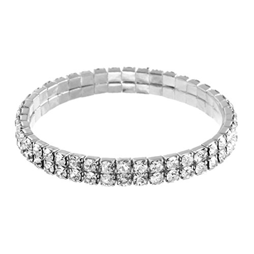 NTLX Women's Sparkling Silver Rhodium Plated 2 Line Stretch Bracelet with Clear Round Rhinestone - Large Stretch Rhinestone Bracelet