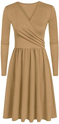 khaki wrap dress - 6