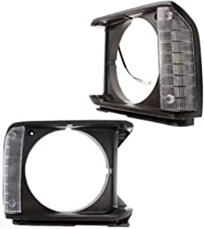 Evan-Fischer EVA18972055267 Headlight Door Set of 2 Single Passenger & Driver Side Grill Extension Grille headlamp Bezel Molding Moulding trim Gray