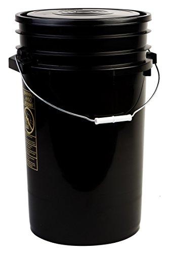 Hudson Exchange Premium 7 Gallon Bucket with Lid, HDPE, Black, 4 Pack