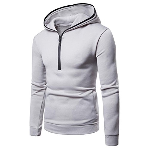 vermers Clearance Mens Hooded Sweatshirt on Sale - Mens Pure Color Zipper Pullover Long Sleeve Hoodie Tops(3XL, White) - Advantage Pullover