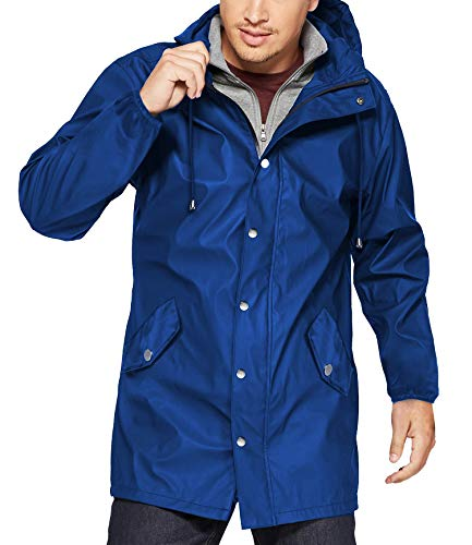 URRU Men's Lightweight Waterproof Rain Jacket Packable Hooded Long Windbreaker Jackets Blue L - Lightweight Waterproof Jackets