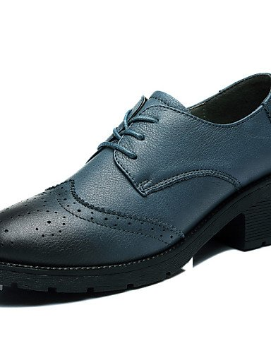 NJX/ Damenschuhe - High Heels - Outddor / Lässig / Sportlich - Leder - Niedriger Absatz - Komfort - Schwarz / Blau blue-us7.5 / eu38 / uk5.5 / cn38