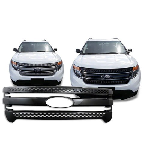 DeluxeAuto Black Grille Overlay Trim is compatible with 2011, 2012, 2013, 2014, 2015 Ford Explorer